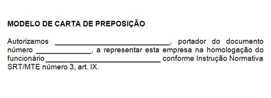 Modelo de Carta de Preposição